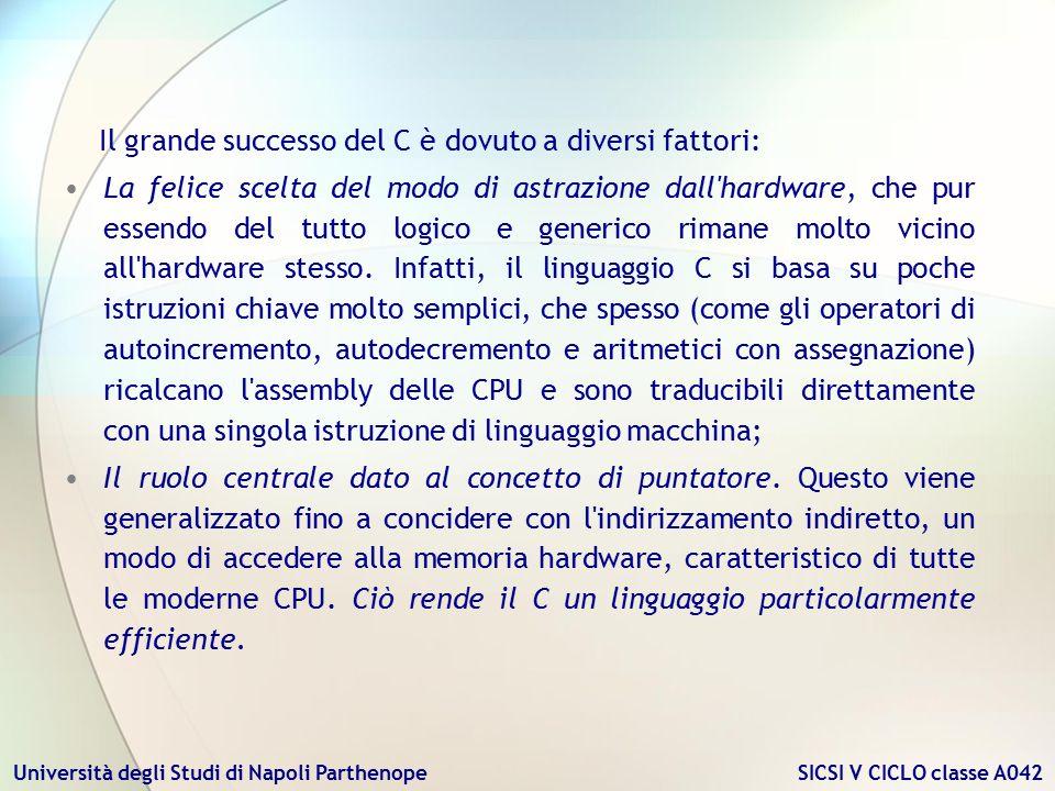 Università degli Studi di Napoli Parthenope SICSI V CICLO classe A042 Il grande successo del C è dovuto a diversi fattori: La felice scelta del modo d