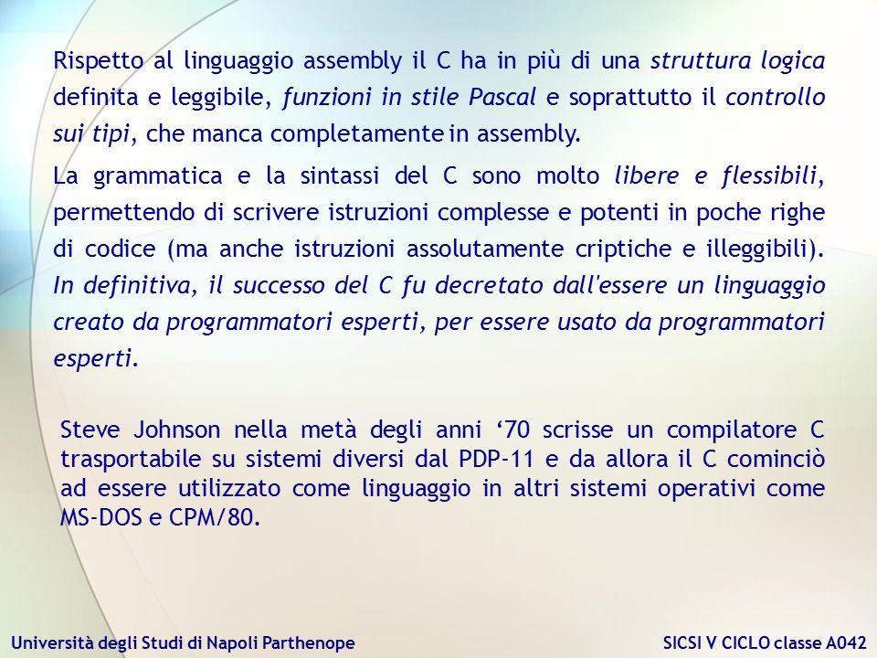 Università degli Studi di Napoli Parthenope SICSI V CICLO classe A042 Steve Johnson nella metà degli anni '70 scrisse un compilatore C trasportabile s