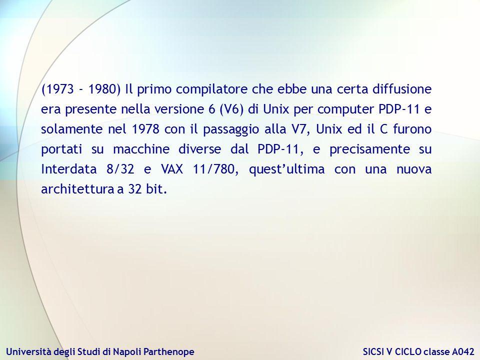 Università degli Studi di Napoli Parthenope SICSI V CICLO classe A042 (1973 - 1980) Il primo compilatore che ebbe una certa diffusione era presente ne