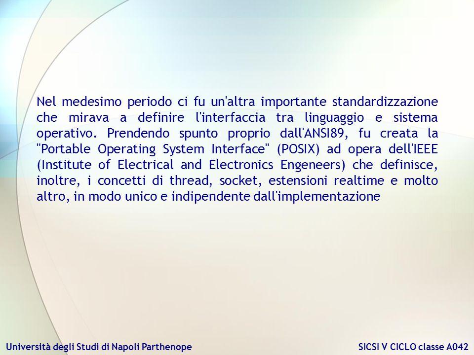 Università degli Studi di Napoli Parthenope SICSI V CICLO classe A042 Nel medesimo periodo ci fu un'altra importante standardizzazione che mirava a de