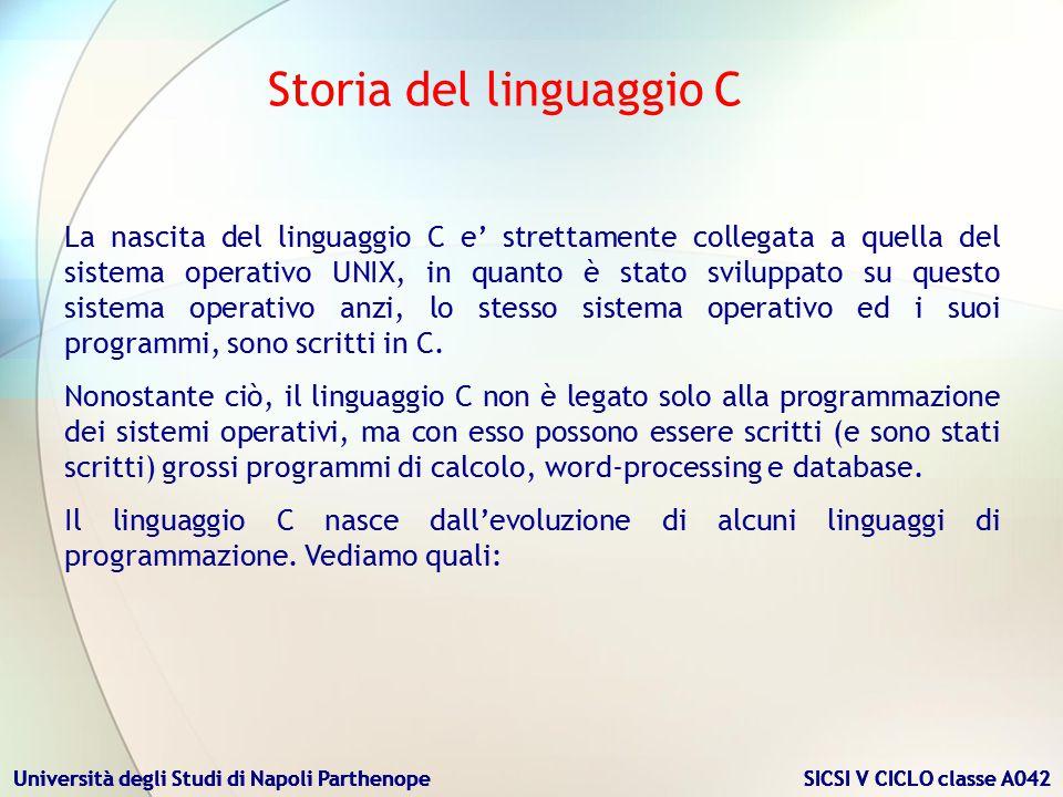 Università degli Studi di Napoli Parthenope SICSI V CICLO classe A042 1972 - C Fino alla fine degli anni 70, il C invase molti college e università per il suo stretto legame con Unix e la disponibilità di un compilatore.