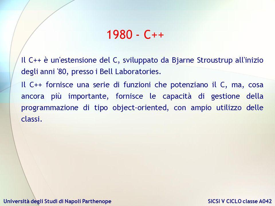 Università degli Studi di Napoli Parthenope SICSI V CICLO classe A042 1980 - C++ Il C++ è un'estensione del C, sviluppato da Bjarne Stroustrup all'ini