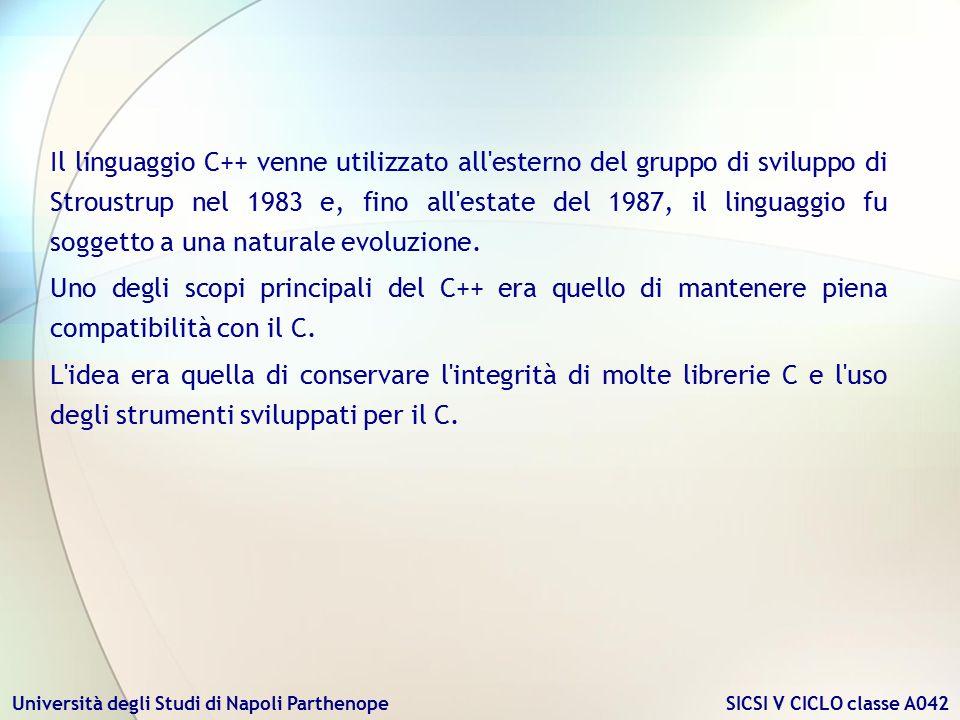 Università degli Studi di Napoli Parthenope SICSI V CICLO classe A042 Il linguaggio C++ venne utilizzato all'esterno del gruppo di sviluppo di Stroust