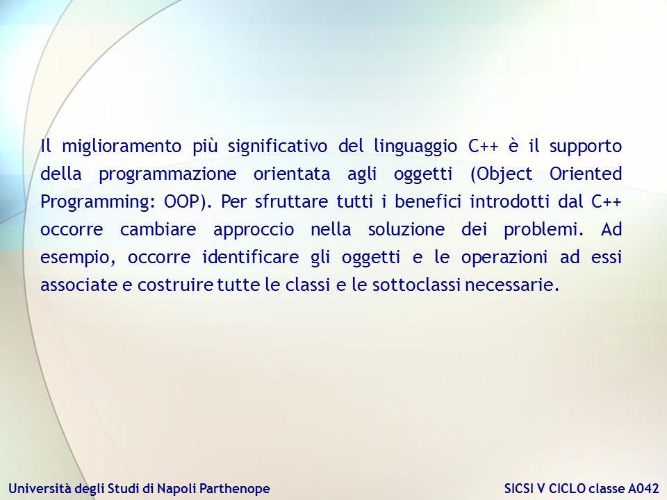 Università degli Studi di Napoli Parthenope SICSI V CICLO classe A042 Il miglioramento più significativo del linguaggio C++ è il supporto della progra