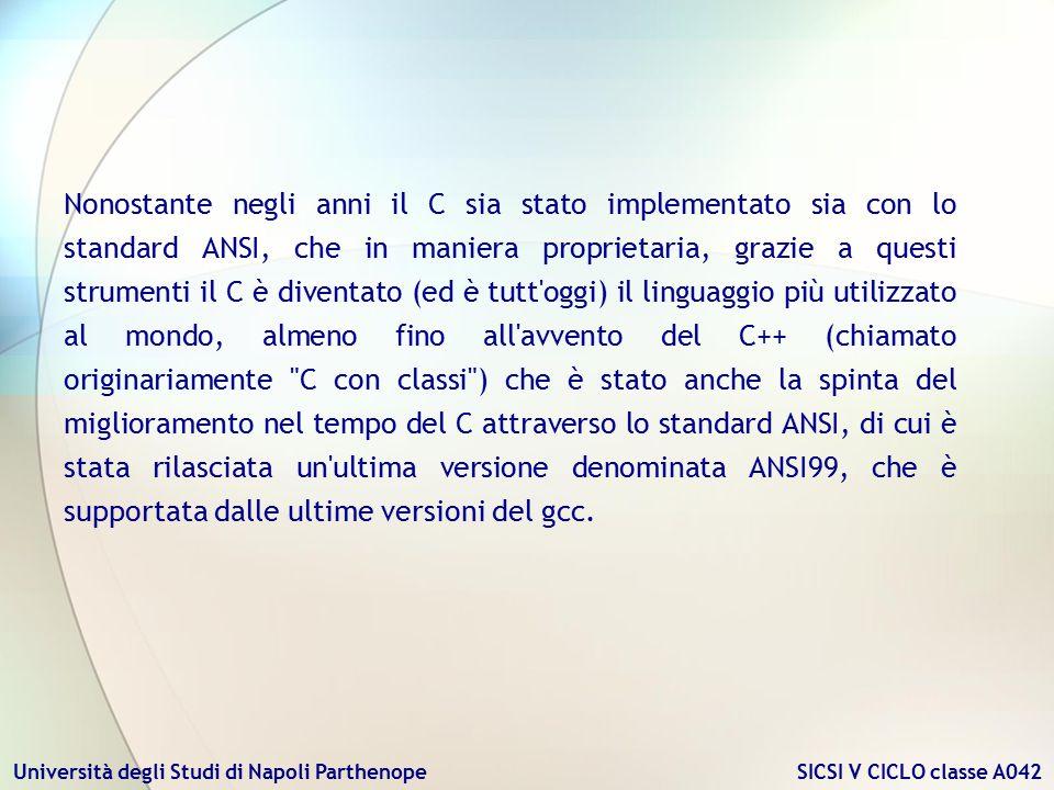 Università degli Studi di Napoli Parthenope SICSI V CICLO classe A042 Nonostante negli anni il C sia stato implementato sia con lo standard ANSI, che