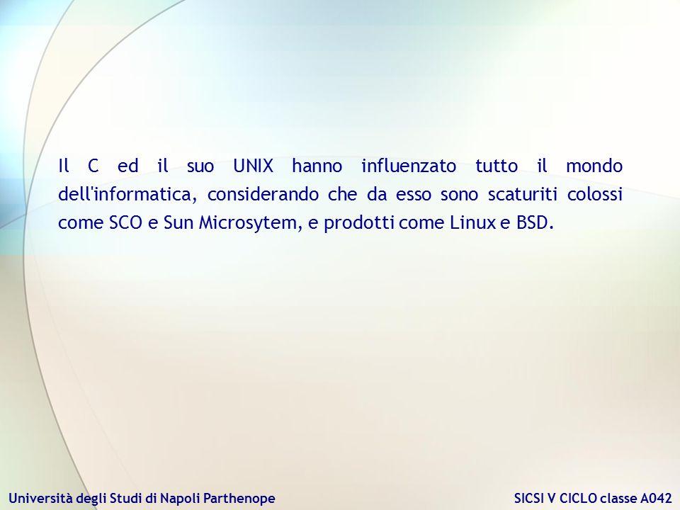 Università degli Studi di Napoli Parthenope SICSI V CICLO classe A042 Il C ed il suo UNIX hanno influenzato tutto il mondo dell'informatica, considera