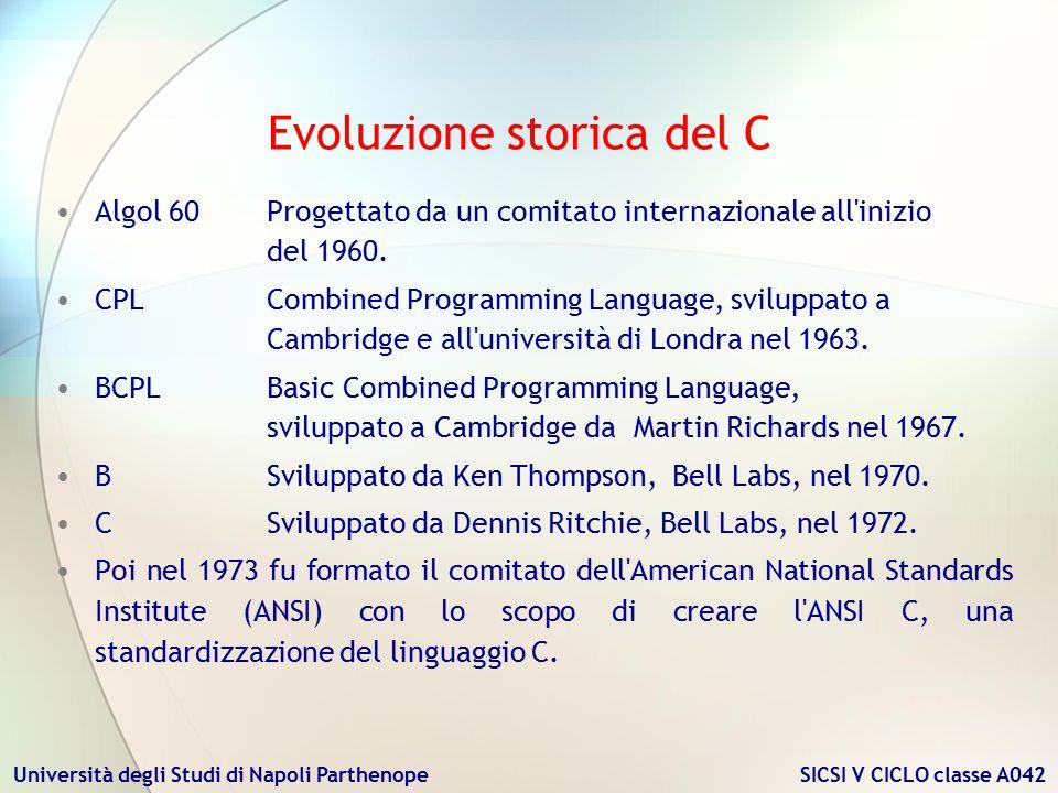 Università degli Studi di Napoli Parthenope SICSI V CICLO classe A042 Il C viene classificato come linguaggio ad alto livello, la scrittura delle istruzioni cioè, era indipendente dalla architettura del calcolatore su cui le istruzioni stesse saranno eseguite.