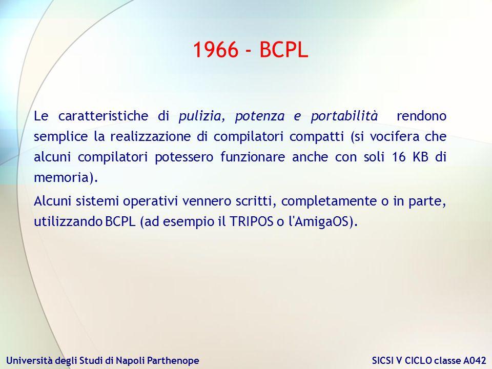 Università degli Studi di Napoli Parthenope SICSI V CICLO classe A042 La principale caratteristica che rendeva il compilatore particolarmente portabile risiedeva nel fatto che esso era logicamente diviso in due parti: la prima parte (frontend) si occupava di analizzare il codice sorgente e di generare un codice intermedio (O-code) per una macchina virtuale, la seconda (backend) traduceva l O-code nel codice per la CPU bersaglio, su cui il programma doveva girare.