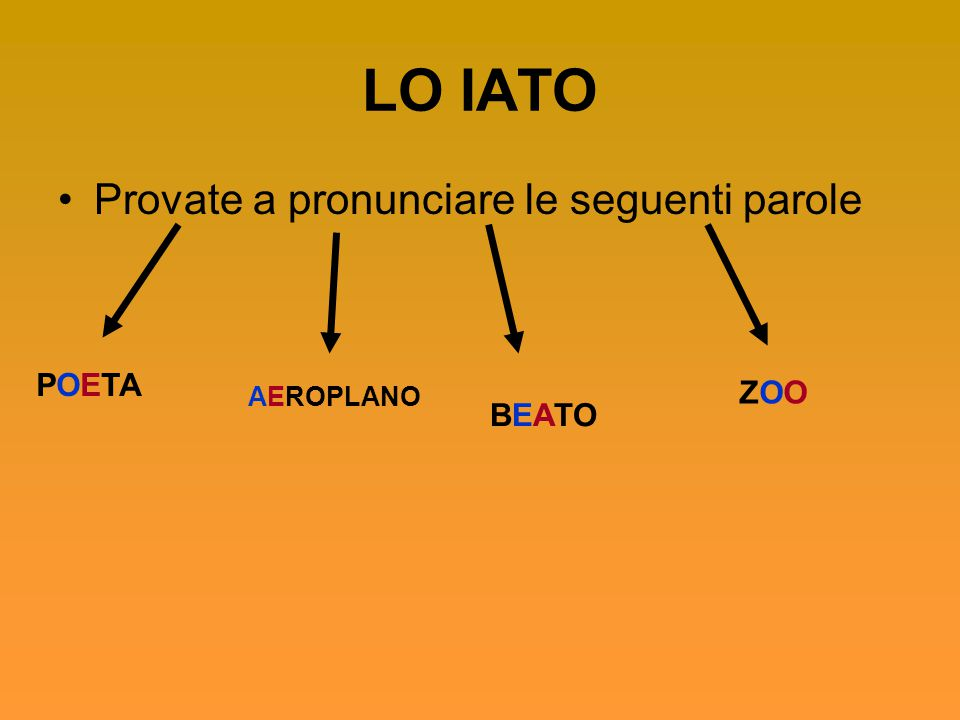 LO IATO Provate a pronunciare le seguenti parole POETA AEROPLANO BEATO ZOOZOO