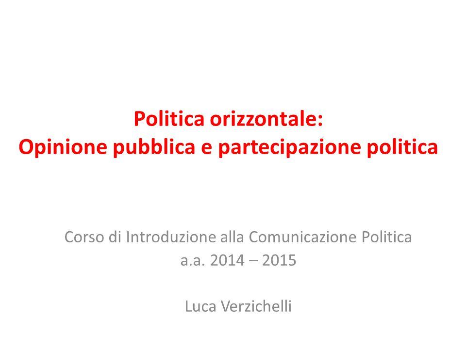 Politica orizzontale: Opinione pubblica e partecipazione politica Corso di Introduzione alla Comunicazione Politica a.a. 2014 – 2015 Luca Verzichelli