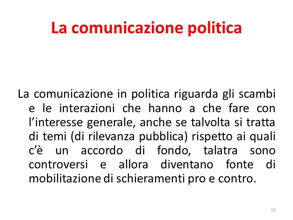 La comunicazione politica 10 La comunicazione in politica riguarda gli scambi e le interazioni che hanno a che fare con l'interesse generale, anche se