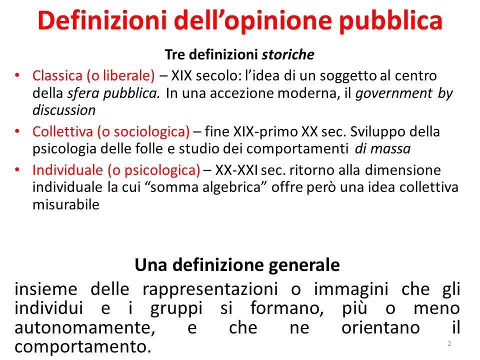 Definizioni dell'opinione pubblica 2 Una definizione generale insieme delle rappresentazioni o immagini che gli individui e i gruppi si formano, più o