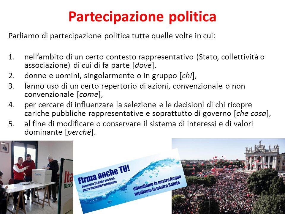 Partecipazione politica 5 Parliamo di partecipazione politica tutte quelle volte in cui: 1.nell'ambito di un certo contesto rappresentativo (Stato, co