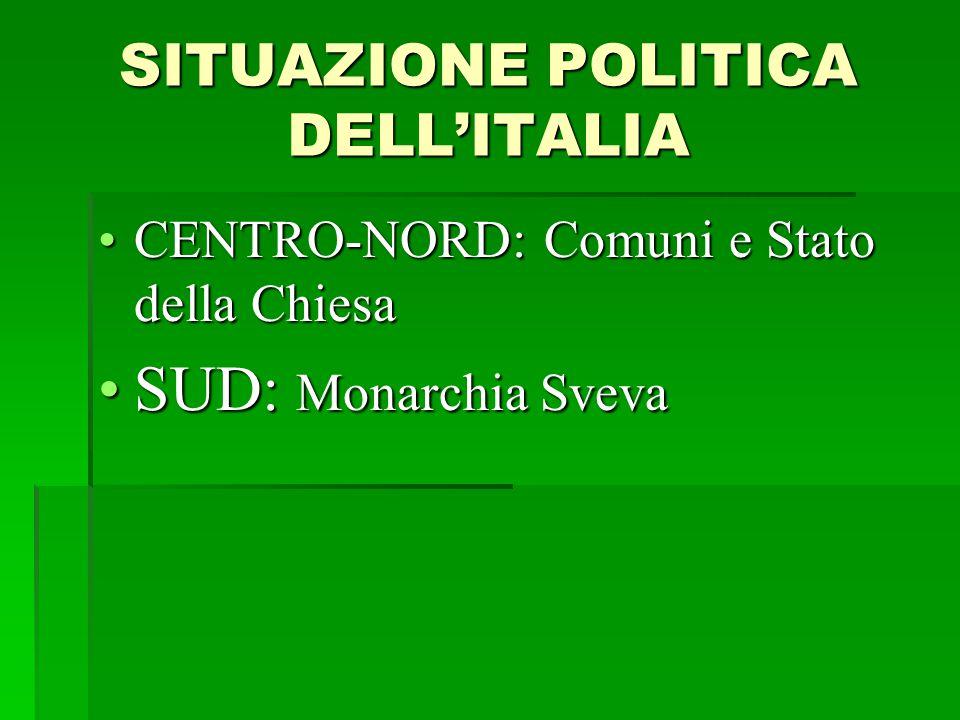 SITUAZIONE POLITICA DELL'ITALIA CENTRO-NORD: Comuni e Stato della Chiesa SUD: Monarchia Sveva