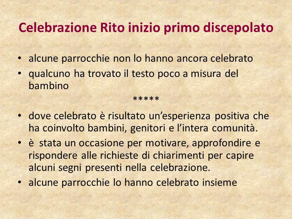 Celebrazione Rito inizio primo discepolato alcune parrocchie non lo hanno ancora celebrato qualcuno ha trovato il testo poco a misura del bambino ****
