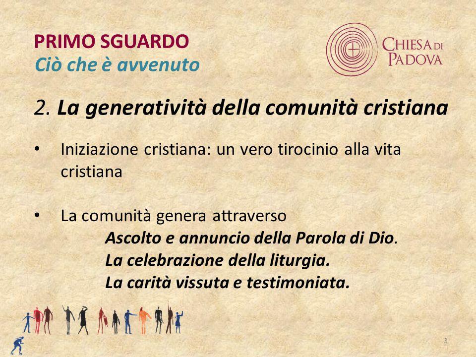 3 2. La generatività della comunità cristiana PRIMO SGUARDO Ciò che è avvenuto Iniziazione cristiana: un vero tirocinio alla vita cristiana La comunit