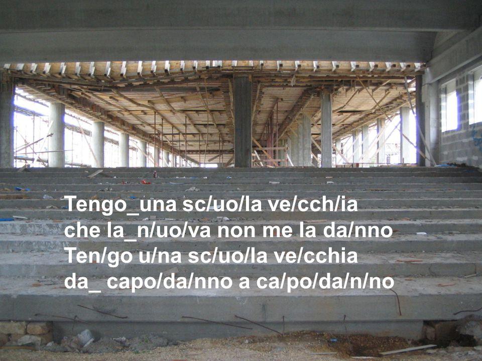 Tengo_una sc/uo/la ve/cch/ia che la_n/uo/va non me la da/nno Ten/go u/na sc/uo/la ve/cchia da_ capo/da/nno a ca/po/da/n/no