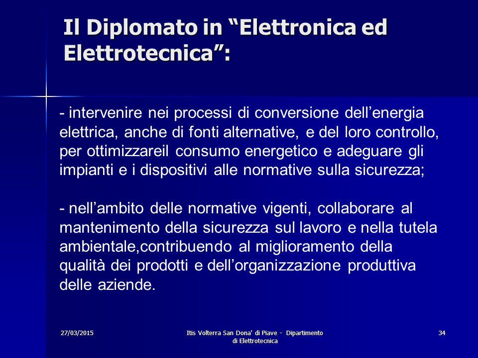 """27/03/2015Itis Volterra San Dona' di Piave - Dipartimento di Elettrotecnica 34 Il Diplomato in """"Elettronica ed Elettrotecnica"""": - intervenire nei proc"""