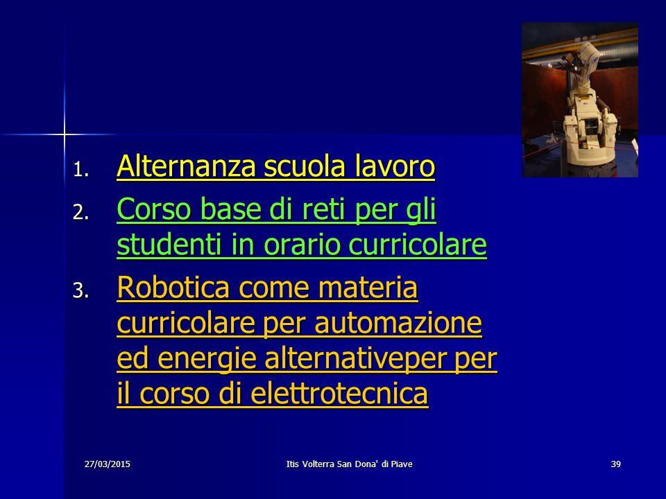 27/03/2015 Itis Volterra San Dona' di Piave 39 1. Alternanza scuola lavoro 2. Corso base di reti per gli studenti in orario curricolare 3. Robotica co