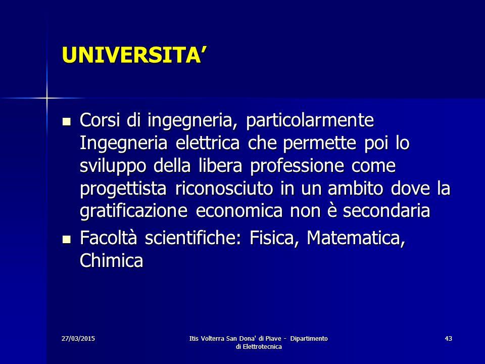 27/03/2015Itis Volterra San Dona' di Piave - Dipartimento di Elettrotecnica 43 UNIVERSITA' Corsi di ingegneria, particolarmente Ingegneria elettrica c