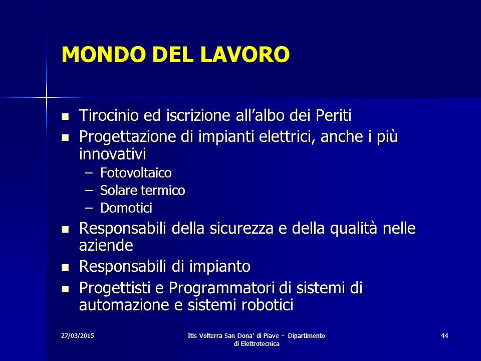 27/03/2015Itis Volterra San Dona' di Piave - Dipartimento di Elettrotecnica 44 MONDO DEL LAVORO Tirocinio ed iscrizione all'albo dei Periti Tirocinio