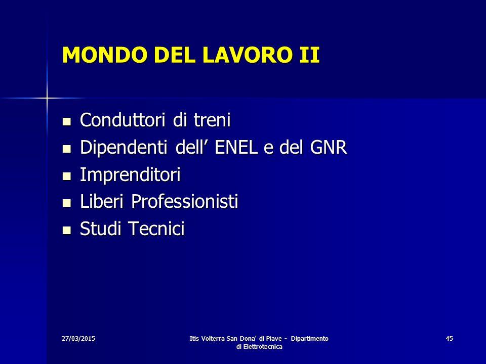 27/03/2015Itis Volterra San Dona' di Piave - Dipartimento di Elettrotecnica 45 MONDO DEL LAVORO II Conduttori di treni Conduttori di treni Dipendenti