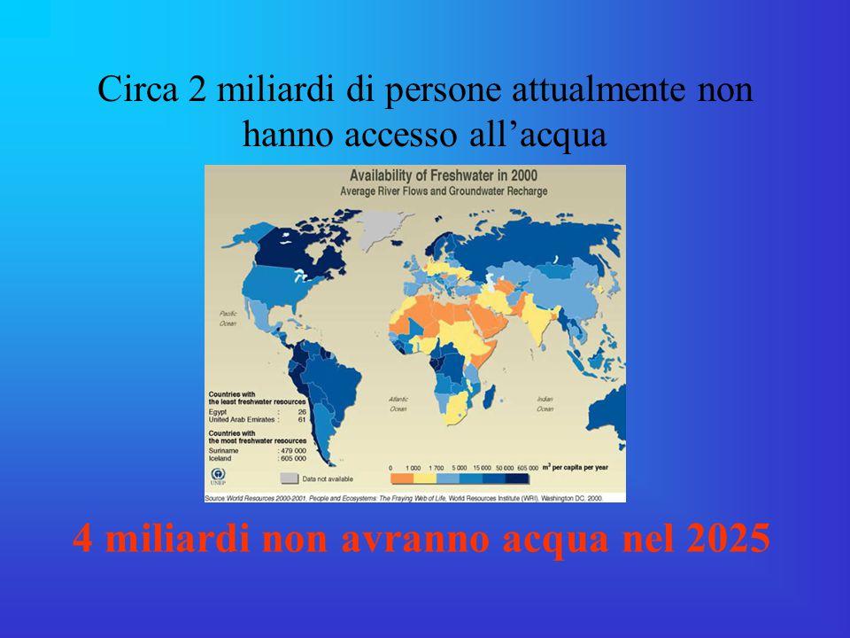 Circa 2 miliardi di persone attualmente non hanno accesso all'acqua 4 miliardi non avranno acqua nel 2025
