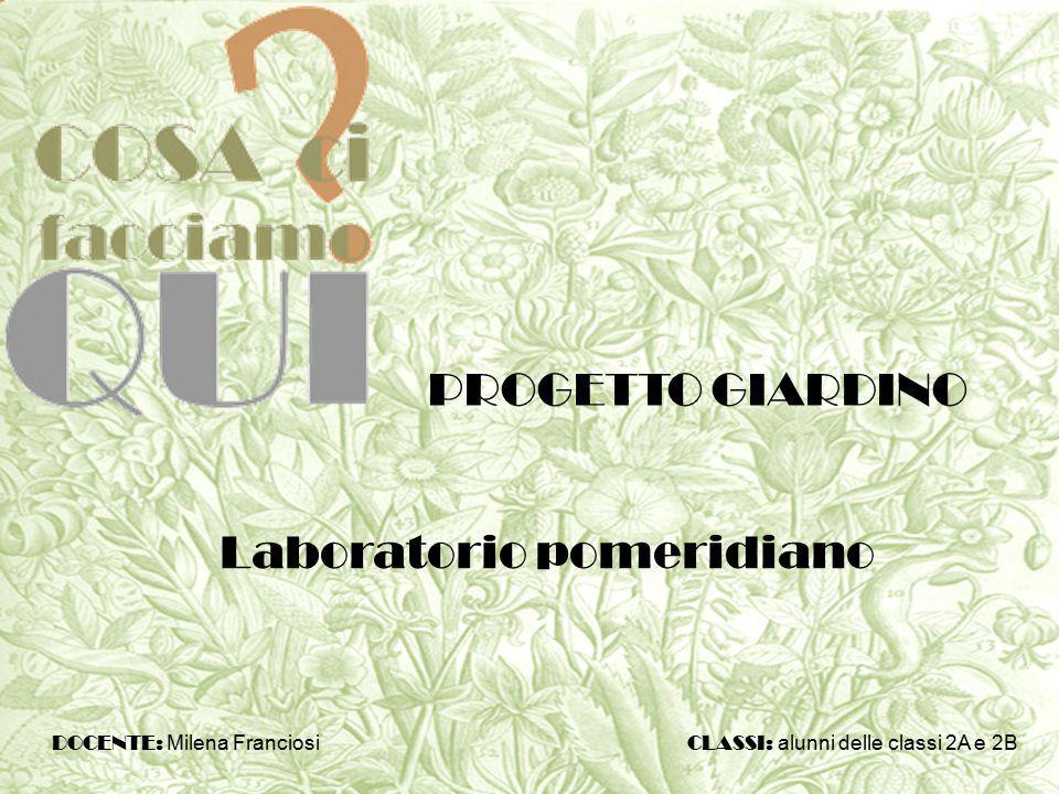 Laboratorio pomeridiano PROGETTO GIARDINO DOCENTE: Milena Franciosi CLASSI: alunni delle classi 2A e 2B