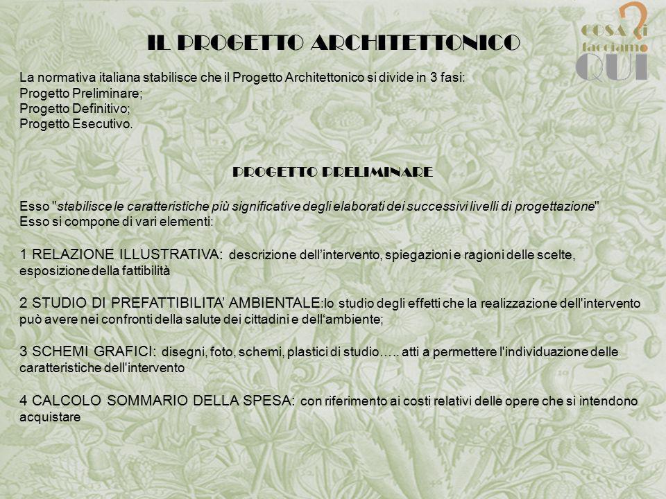 IL PROGETTO ARCHITETTONICO La normativa italiana stabilisce che il Progetto Architettonico si divide in 3 fasi: Progetto Preliminare; Progetto Definitivo; Progetto Esecutivo.