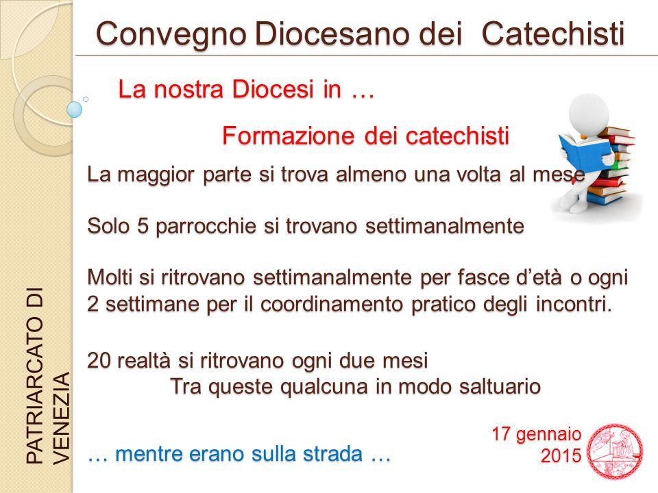 Convegno Diocesano dei Catechisti PATRIARCATO DI VENEZIA La maggior parte si trova almeno una volta al mese Solo 5 parrocchie si trovano settimanalmente Molti si ritrovano settimanalmente per fasce d'età o ogni 2 settimane per il coordinamento pratico degli incontri.
