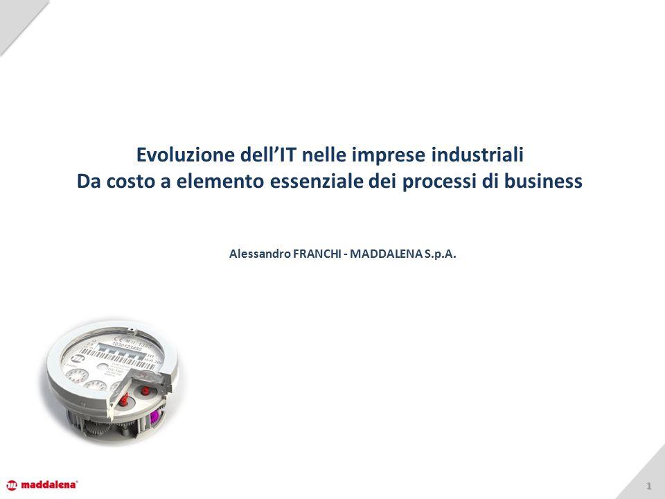 11 Evoluzione dell'IT nelle imprese industriali Da costo a elemento essenziale dei processi di business Alessandro FRANCHI - MADDALENA S.p.A.