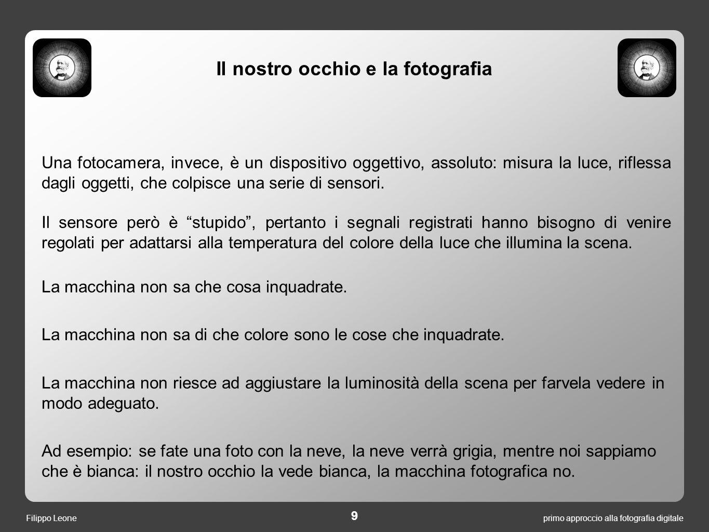 primo approccio alla fotografia digitale 10 Filippo Leone Cosa vede il sensore