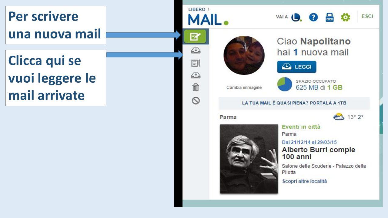 Per scrivere una nuova mail Clicca qui se vuoi leggere le mail arrivate