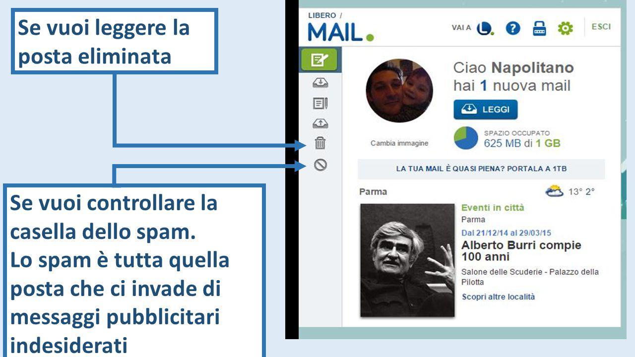 Se vuoi leggere la posta eliminata Se vuoi controllare la casella dello spam.