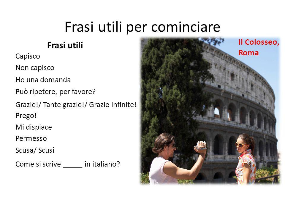 Frasi utili per cominciare Il Colosseo, Roma Capisco Non capisco Ho una domanda Può ripetere, per favore.