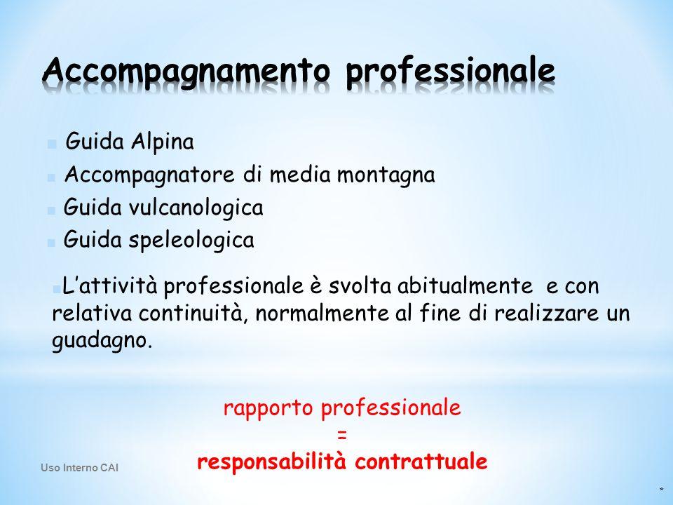 * ■ Guida Alpina ■ Accompagnatore di media montagna ■ Guida vulcanologica ■ Guida speleologica rapporto professionale = responsabilità contrattuale ■