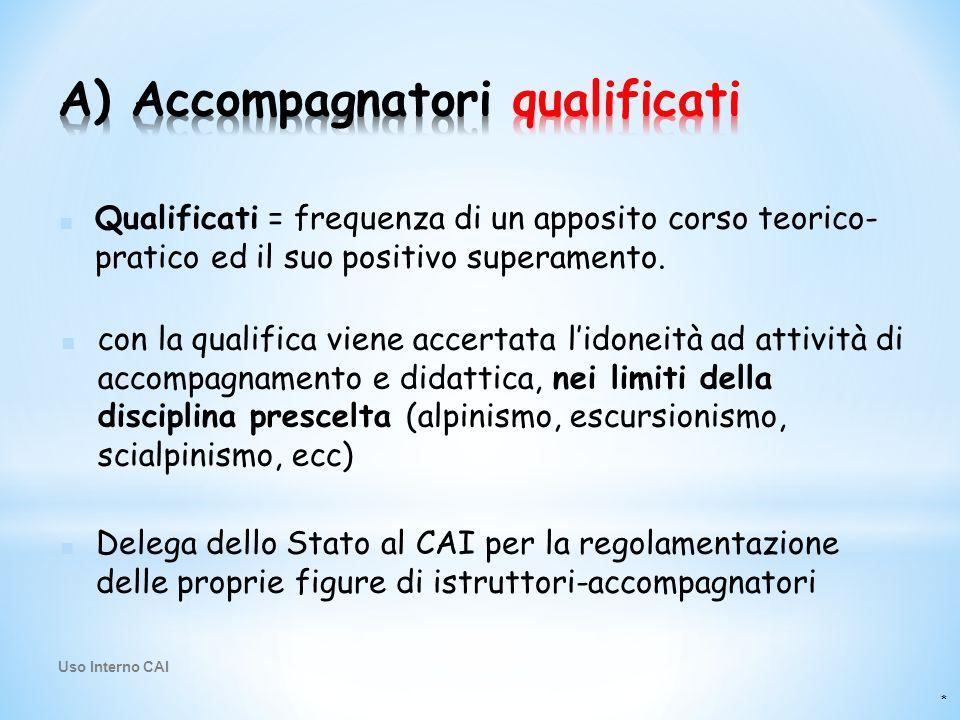 * ■ Delega dello Stato al CAI per la regolamentazione delle proprie figure di istruttori-accompagnatori ■ Qualificati = frequenza di un apposito corso