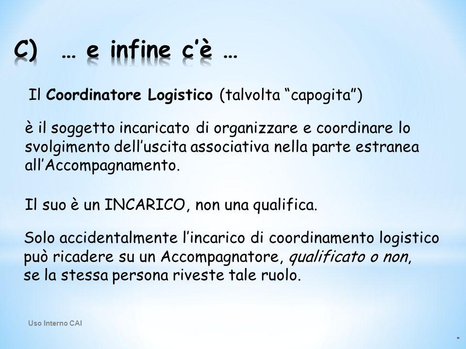 """* Il Coordinatore Logistico (talvolta """"capogita"""") è il soggetto incaricato di organizzare e coordinare lo svolgimento dell'uscita associativa nella pa"""