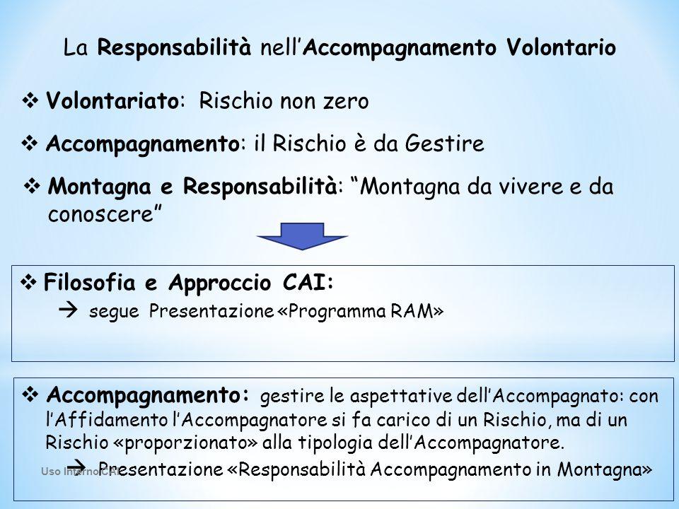 La Responsabilità nell'Accompagnamento Volontario  Volontariato: Rischio non zero  Accompagnamento: il Rischio è da Gestire  Montagna e Responsabil