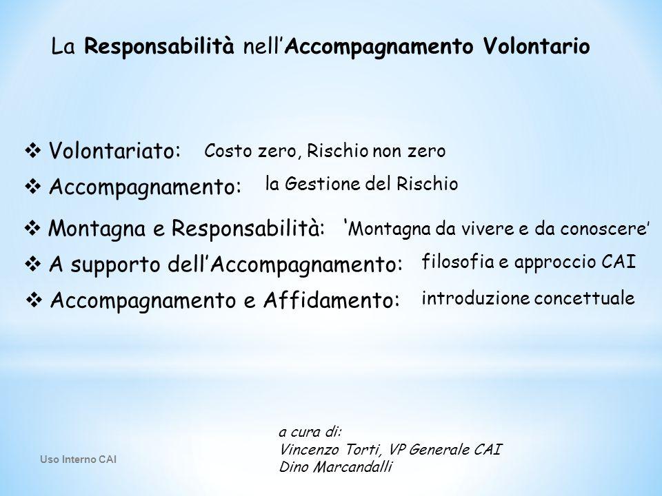 La Responsabilità nell'Accompagnamento Volontario Costo zero, Rischio non zero  Volontariato: la Gestione del Rischio  Accompagnamento:  Montagna e