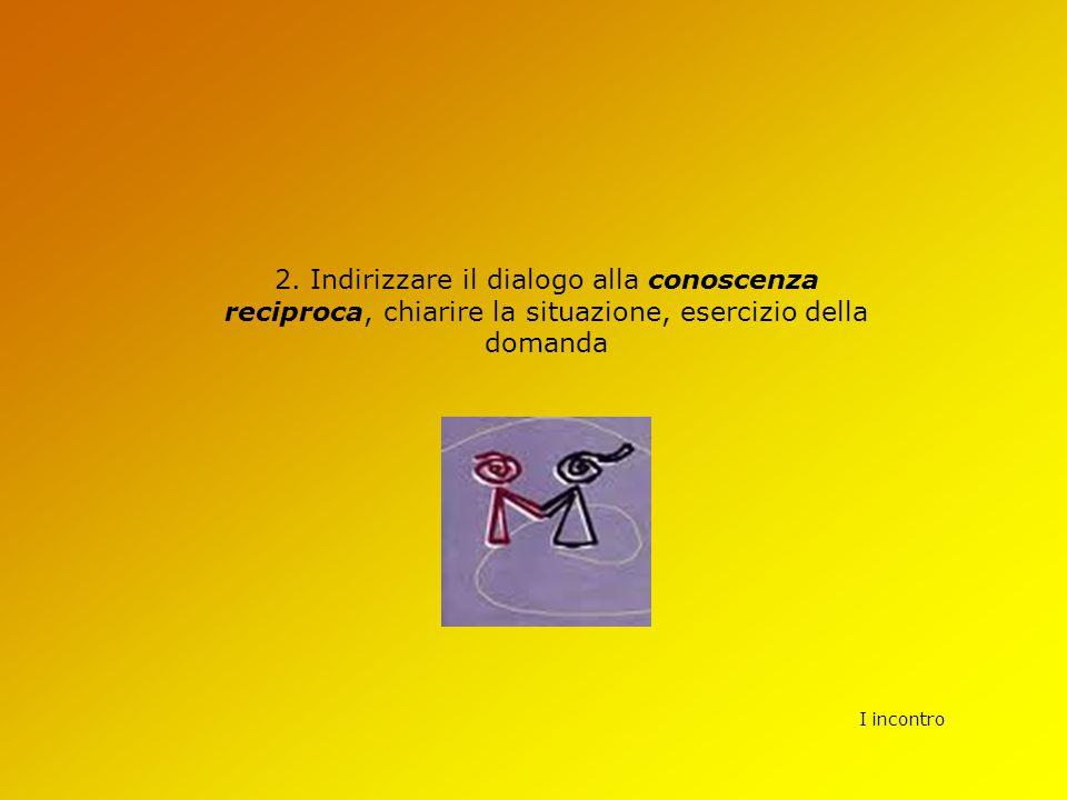 I incontro 2. Indirizzare il dialogo alla conoscenza reciproca, chiarire la situazione, esercizio della domanda