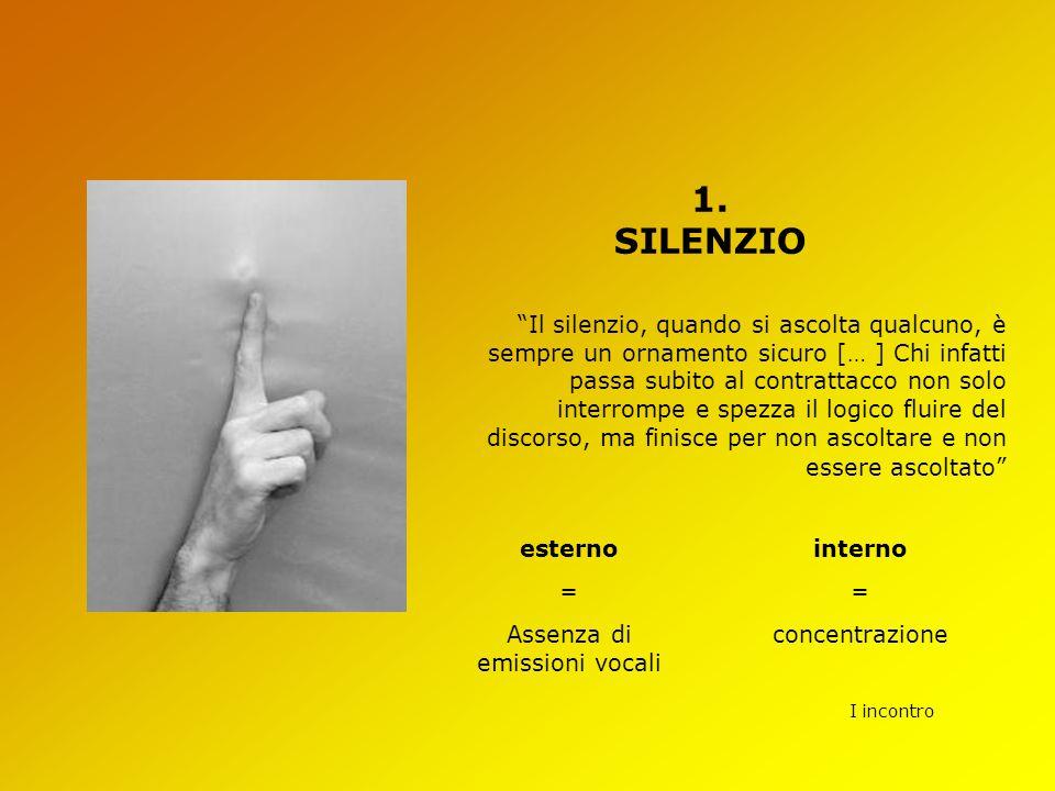"""I incontro 1. SILENZIO """"Il silenzio, quando si ascolta qualcuno, è sempre un ornamento sicuro [… ] Chi infatti passa subito al contrattacco non solo i"""