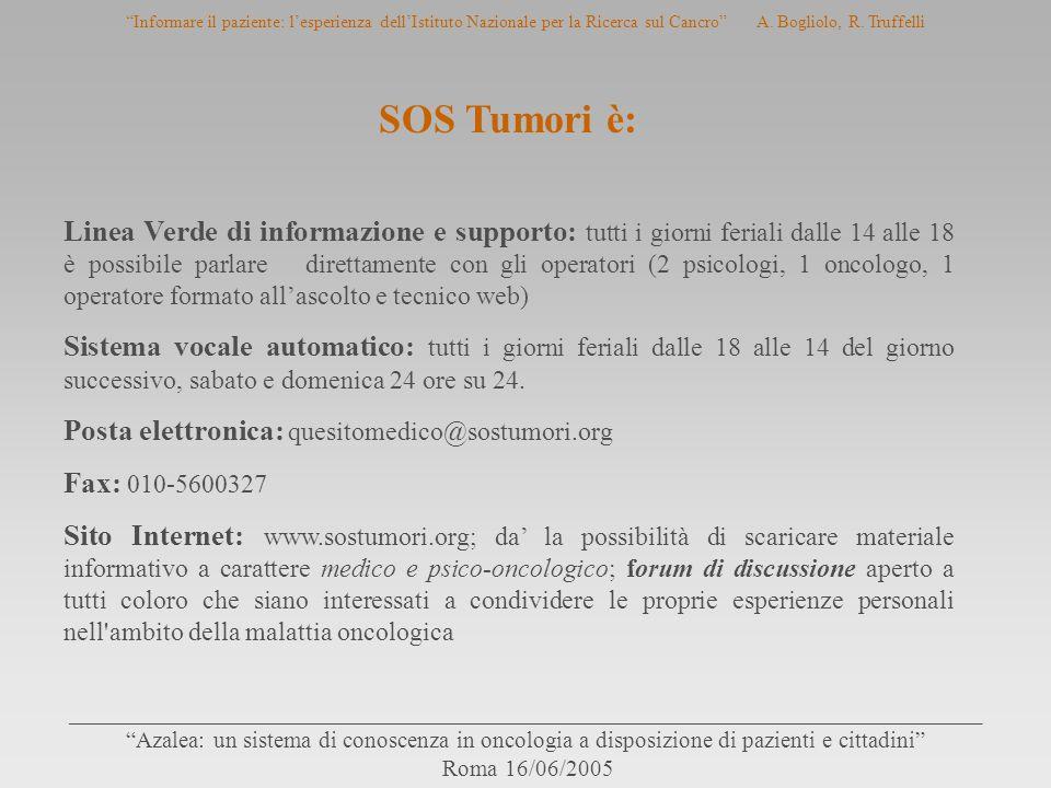 SOS Tumori è: Linea Verde di informazione e supporto: tutti i giorni feriali dalle 14 alle 18 è possibile parlare direttamente con gli operatori (2 ps