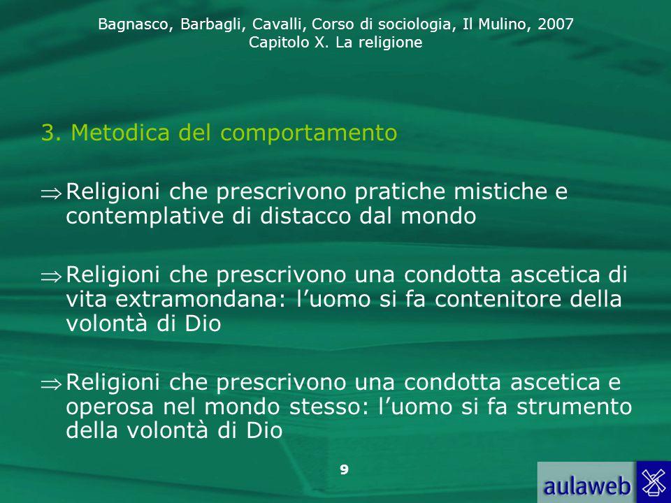 Bagnasco, Barbagli, Cavalli, Corso di sociologia, Il Mulino, 2007 Capitolo X. La religione 9 3. Metodica del comportamento Religioni che prescrivono