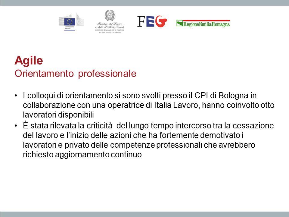Agile Orientamento professionale I colloqui di orientamento si sono svolti presso il CPI di Bologna in collaborazione con una operatrice di Italia Lav
