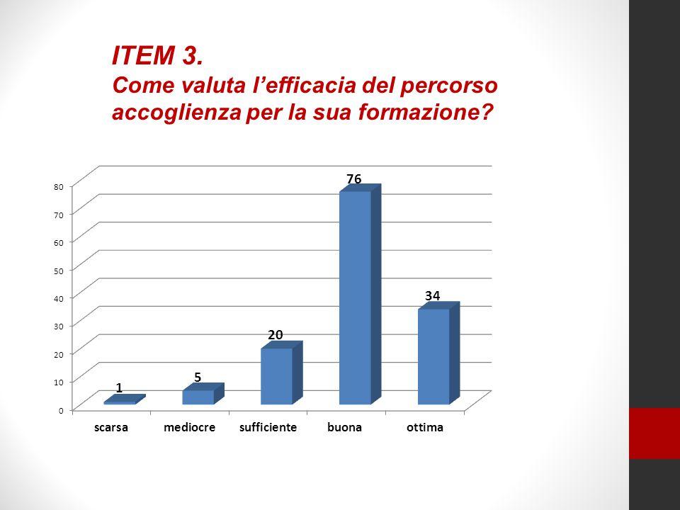 ITEM 3. Come valuta l'efficacia del percorso accoglienza per la sua formazione?