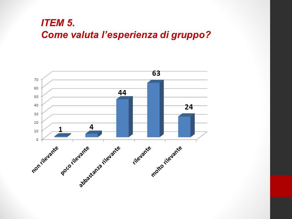 ITEM 5. Come valuta l'esperienza di gruppo?