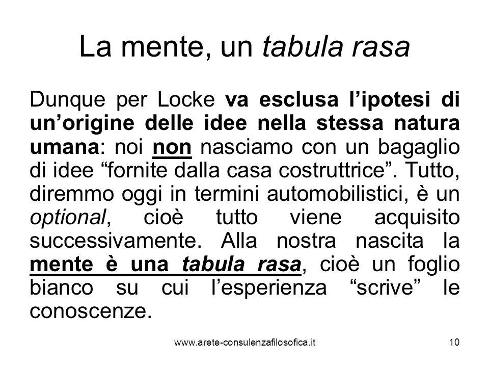 La mente, un tabula rasa Dunque per Locke va esclusa l'ipotesi di un'origine delle idee nella stessa natura umana: noi non nasciamo con un bagaglio di