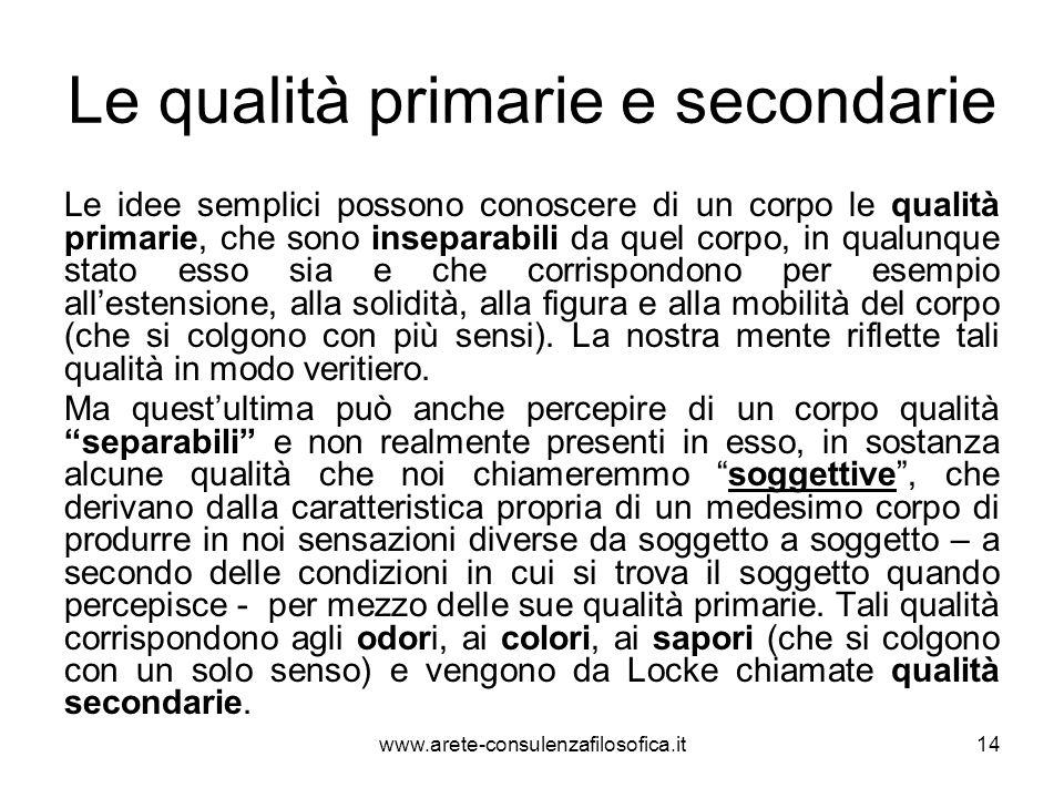 Le qualità primarie e secondarie Le idee semplici possono conoscere di un corpo le qualità primarie, che sono inseparabili da quel corpo, in qualunque