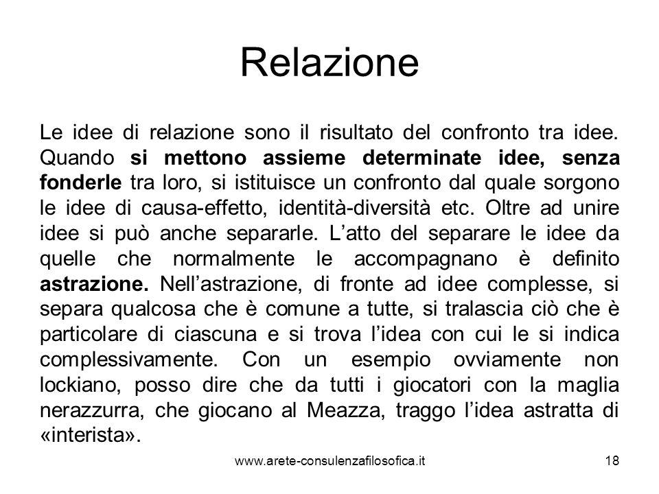 Relazione Le idee di relazione sono il risultato del confronto tra idee. Quando si mettono assieme determinate idee, senza fonderle tra loro, si istit